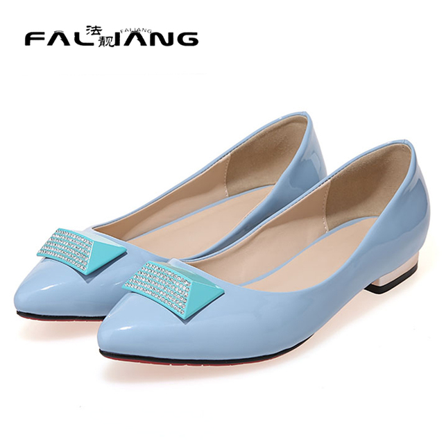 separation shoes cf4aa 400ec US $28.97 |Top quality pointed toe women flat shoes patent leather red sole  flats slip on women driver shoes chunky heel wedding shoes 2016-in Women's  ...