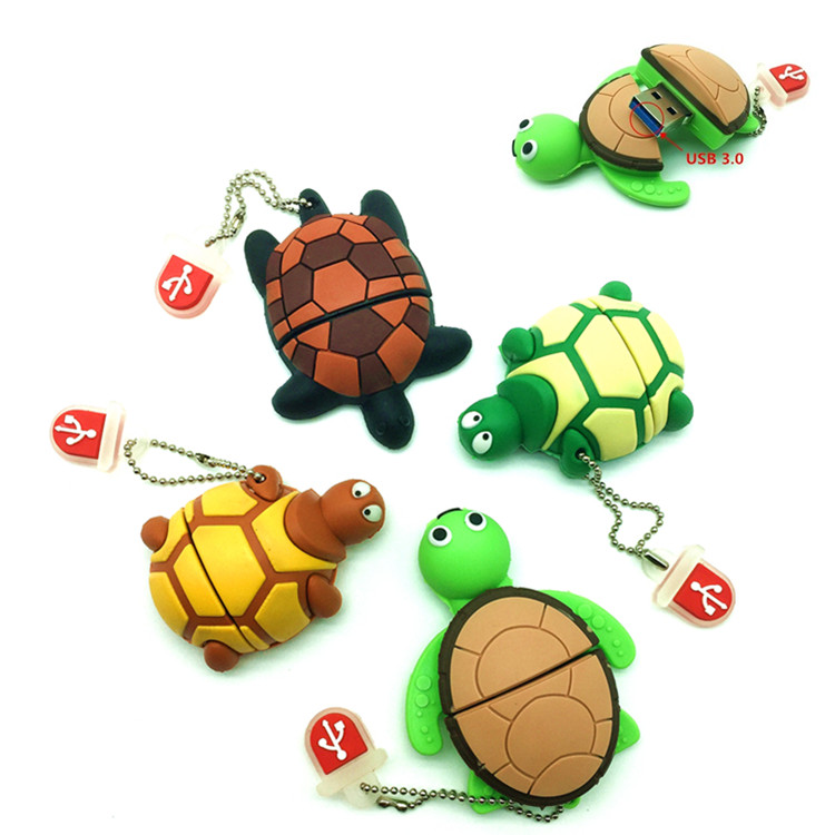 Wholesale USB 3.0 Pen drive, PVC Plastic Cartoon Tortoise pendrive 64gb 8gb 16gb 32gb Turtle usb flash Memory Stick pen drive