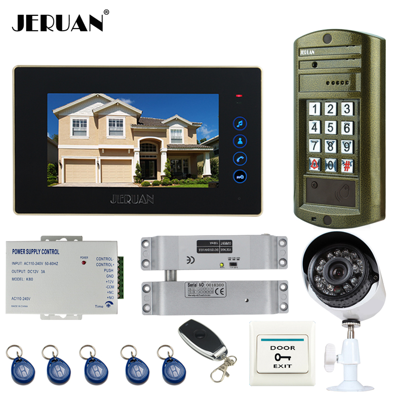 JERUAN NEW 7`` touch key Video DoorPhone Intercom System kit Waterproof password keypad HD Mini Camera +Analog Camera +E-lock jeruan 8 inch lcd video doorphone recording intercom system kit new rfid waterproof touch key password keypad camera 8g sd card