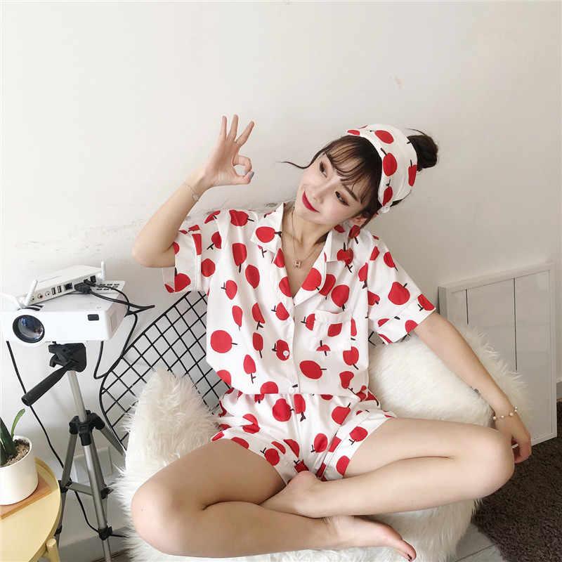 Fdfklak קיץ נשים מזדמן הדפסת הלבשת פיג 'מה חמוד קצר שרוול כותנה nightwear נקבה פיג' מה עם מסכת עיניים