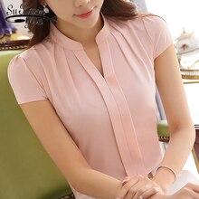 new 2018 fashion V-neck office lady shirt blouse women short