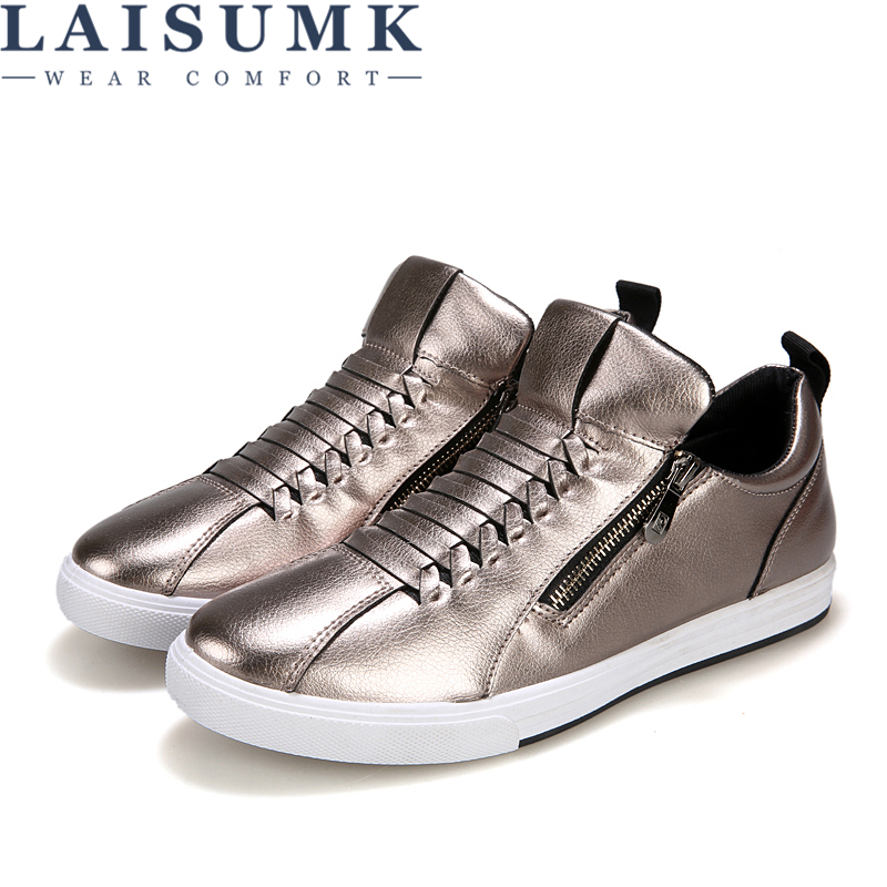 LAISUMK New Leisure Waterproof Mens Comfortable Ankle Shoes Luxury Fashion Leather Breathable Men Round Head Males Flats