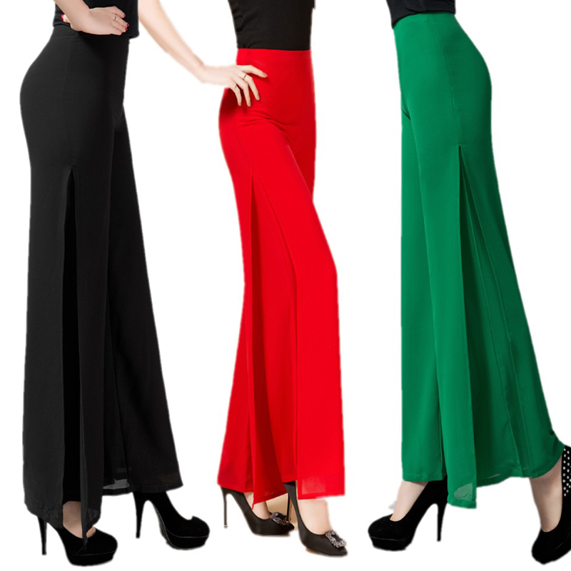 Hot Sale Solid Chiffon Double deck Long   Pants   Women Dance Trousers Cross   Pants   Plus Size 4XL 5XL OL Casual   Wide     Leg     Pants