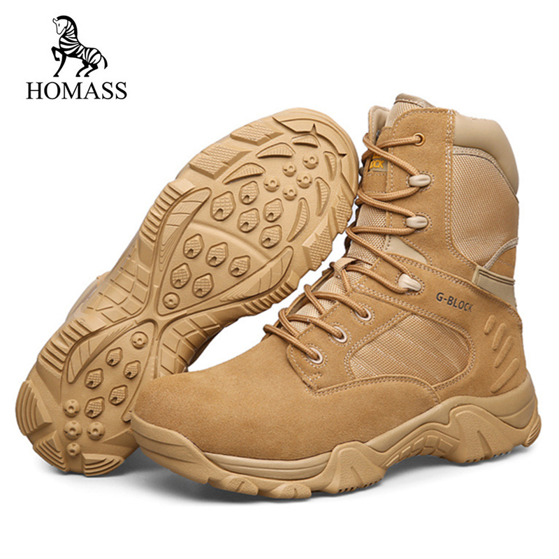 HOMASS Big Size Men's High-top Casual Shoes Outdoor Satety Shoes Combat Army Boots Botas Genuine Cow Suede Non-slip Desert Boots z suo women s outdoor winter boots desert high top military tactical shoes female fashion cow suede breathable non slip footwear