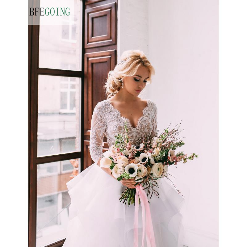 White Lace Appliques Tulle V-Neck  A-line  Floor-Length Wedding Dresses  3/4 Sleeves Bridal Gown Custom Made
