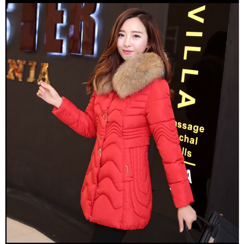 Ukraine Pockets Zippers Polyester Solid Zipper Slim Thick Full 80% Broadcloth The Winter 2016 Ms In Long Cotton-padded Clothes