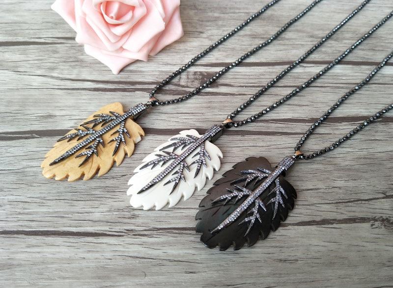 5 Strands Hematite beads necklace Unique leaf ox bone Pendant,CZ zircon Micro pave crystal Charm Boho necklaces for women NK147