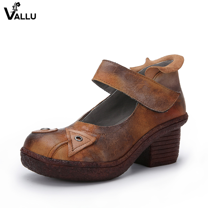 W stylu Vintage buty na wysokim obcasie kobieta jesień VALLU Handmade prawdziwej skóry kobiet pompy Stitch Hook & Loop pani buty na koturnie w Buty damskie na słupku od Buty na  Grupa 1