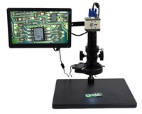 1080P HDMI USB Industrial Microscope Camera 18X 200X High Working Distance Optical Lens Table LED Light Source