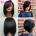 Layered Human Hair Short Bob Wig For Black Women Glueless Lace Front Human Hair Bob Wigs With Side Bangs Full Lace Short Wigs