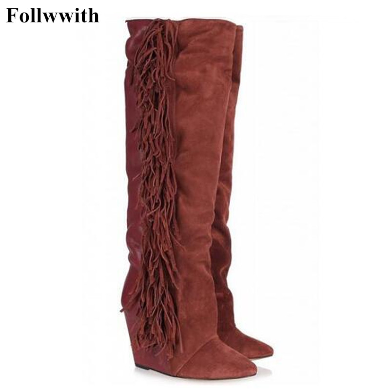 2018 Fashion Over-the-Knee White Cow Suede Thigh High Women Boots Flats Wedges Tassel Fringe Height Shoes Woman Plus Size 42 2017 winter cow suede slim boots sexy over the knee high women snow boots women s fashion winter thigh high boots shoes woman