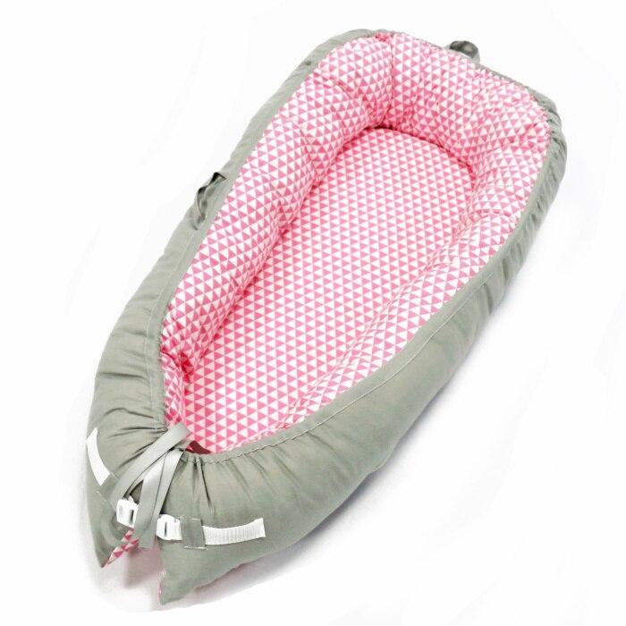 Разборные Детские гнезда кровать или малыша Размер гнезда, мята и совы, портативная кроватка, co спальное место babynest для новорожденных и малышей - Цвет: Gray pink Triangle