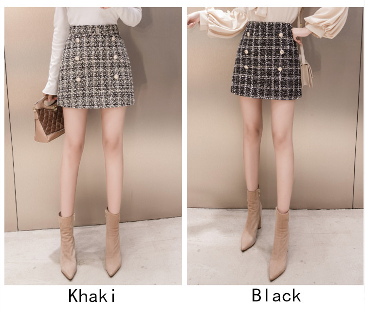 High Waist Khaki Button A-line Mini Skirt