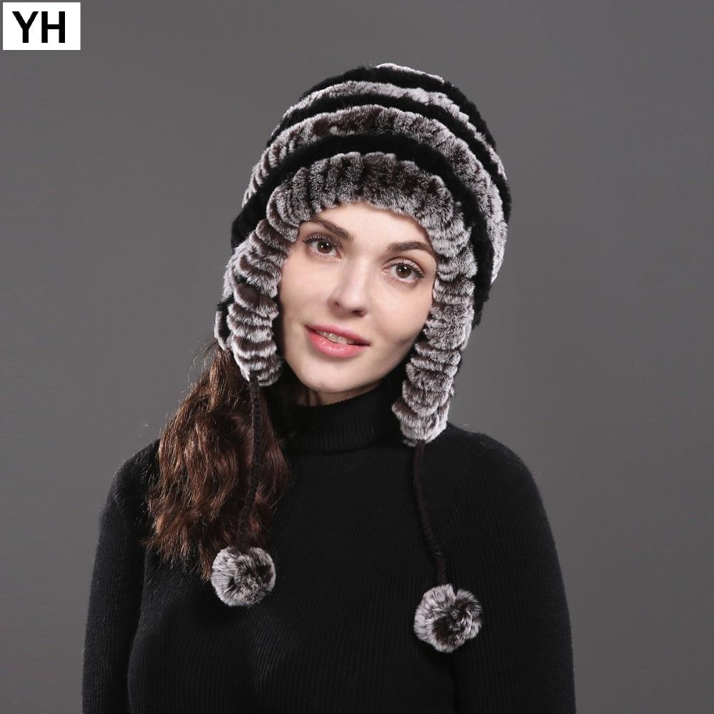 cf67d89f7c5 2018 Hot Women Real Natural Rex Rabbit Fur Hat Winter Lady Rex Rabbit Fur  Beanies Caps Warm Knitted Real Rex Rabbit Fur Cap