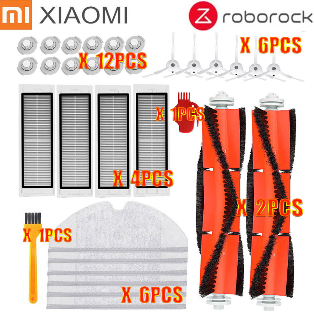 Suitable For Xiaomi Robot Vacuum Cleaner Roborock Spare Parts Kits Side Brushes HEPA Filter Roller Brush Replacement