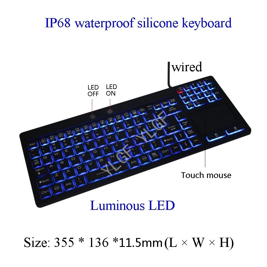 YLGF L35LED-BL IP67, IP68, waterproof keyboard, industrial keyboard, silicone, light, backlight, dust, embedded,LED backlight metal keyboard ylgf ps 2 super mini embedded industrial key waterproof ip65 dust anti violence stainless steel ring