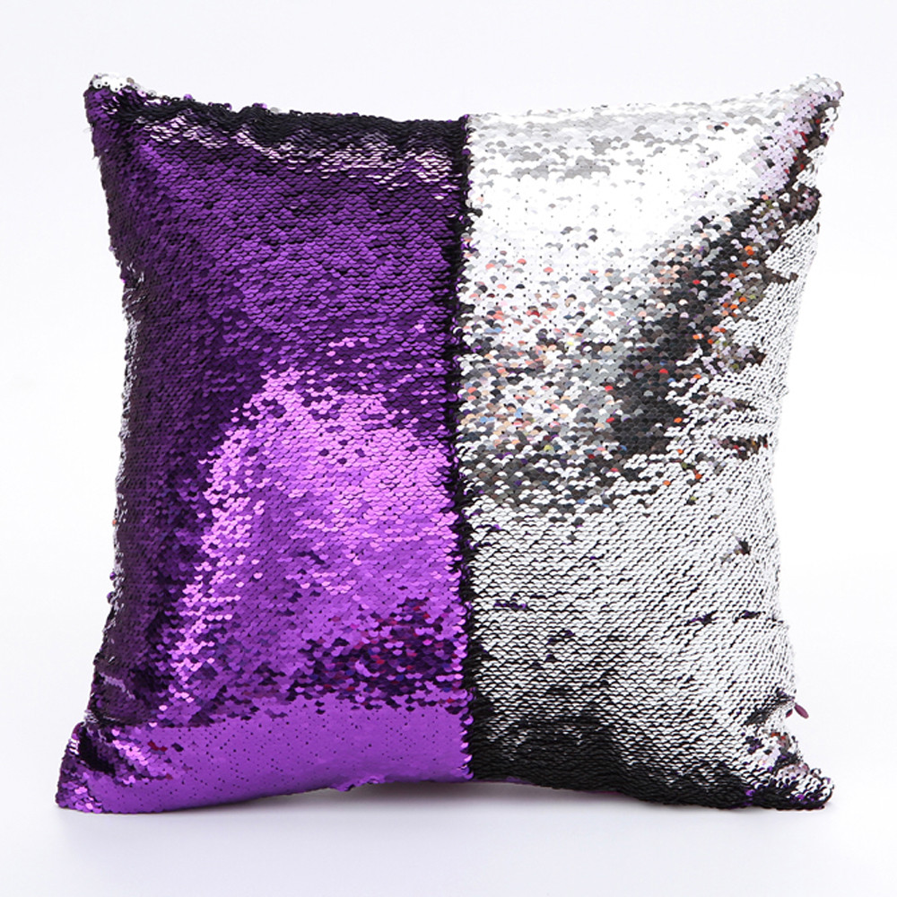Image 4 - DIY Double Color Glitter fashion Sequins Throw Pillow Cover Sofa Bed Home Coffee Decoration 40cm*40cm Cushion Cover-in Cushion Cover from Home & Garden
