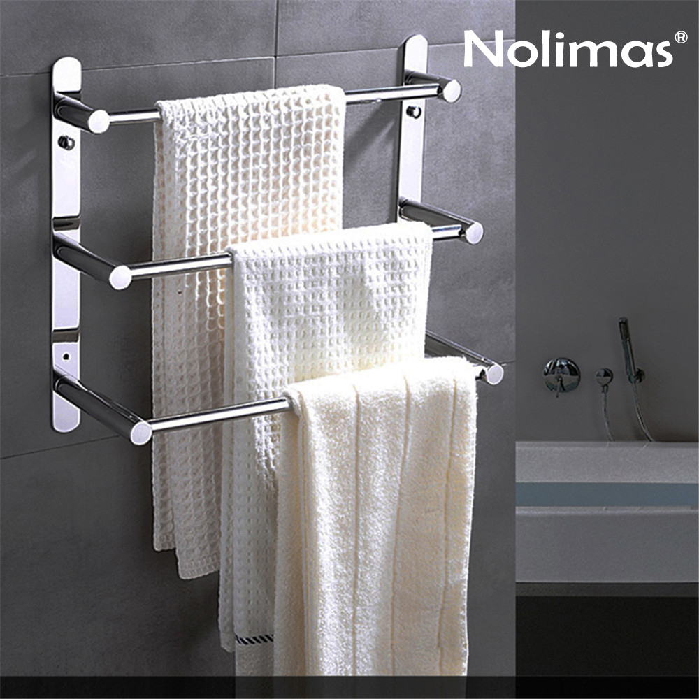 Three Layers Modern Towel Bar Brief SUS 304 Stainless Steel Polished Surface Bathroom Towel Rack Wall Mounted Towel Shelf Holder