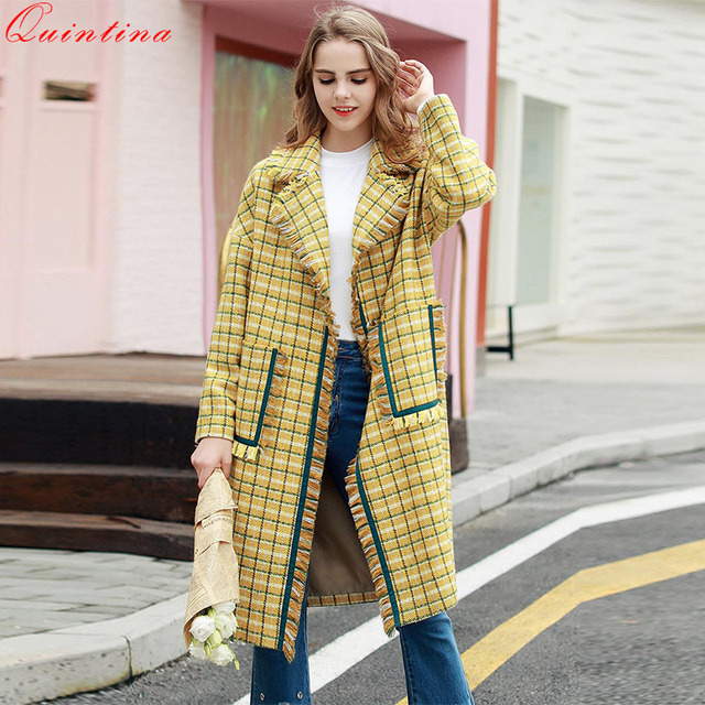 80296caefe445 Quintina 2017 New Autumn Winter Wool Coat Women Classic Blends Yellow Plaid Long  Coat Female Outerwear Windbreaker Trench Coat