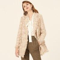Tweed jacket double breasted 2019 spring / autumn women's jacket loose ladies tassel autumn / winter large size woolen coat