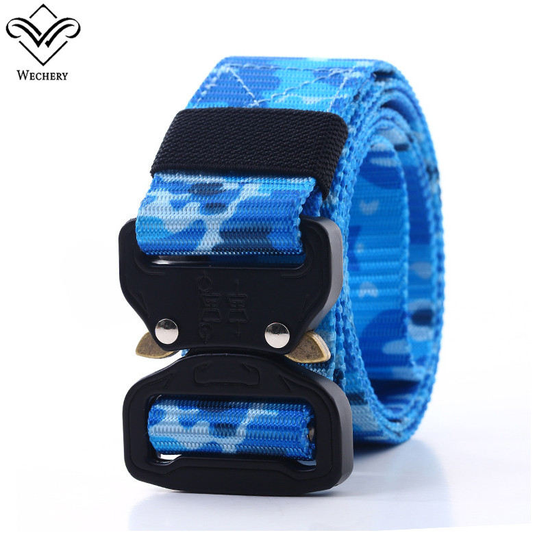 Wechery Outdoor Belt for Men Wave Knit Canvas Nylon Military Belts Camouflage Army Waistband Buckles Means Slimming Waist Strap