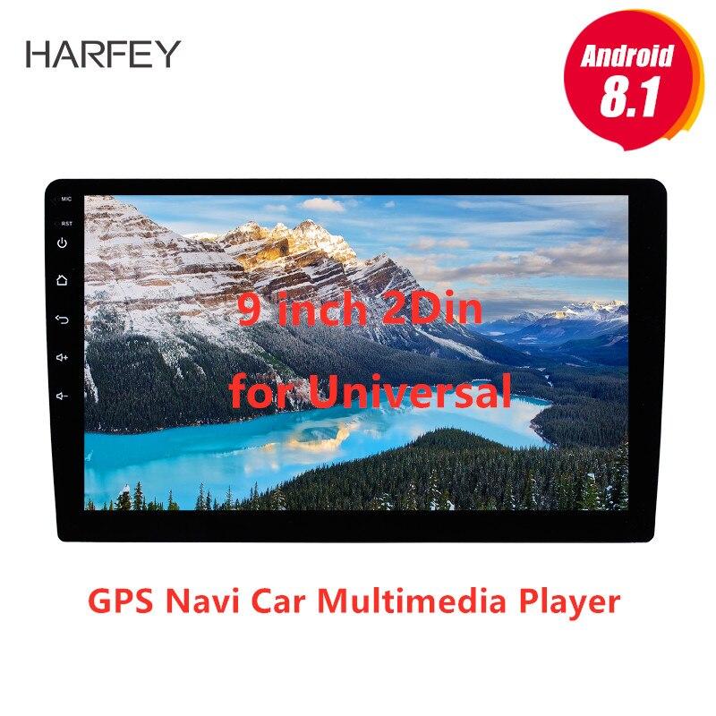 Harfey 2Din 9 polegada Android 8.1 GPS Navi para Universal Car Multimedia Player HD 1024*600 Suporte Ligação Espelho SWC DVR câmera Traseira