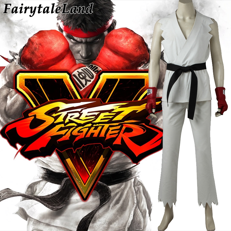 Street Fighter V Ryu Cosplay Costume Carnival Halloween Costumes Game Boxing white suit Hoshi Ryu costume