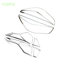 6pcs Front Head Light&Tail Light Lamp Cover Trim ABS Chrome For Ford Kuga Escape 2017