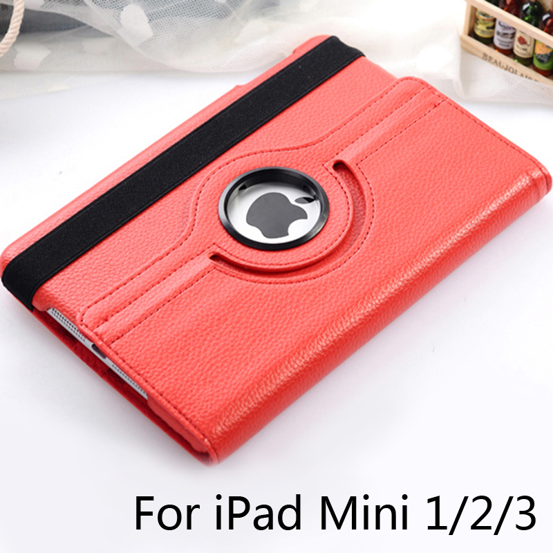 For ipad Mini2 Mini3 Mini 2 Mini 3 Tablet Case 360 Degree Rotating PU Leather Stand Flip Folio Screen Protector Cover + Film new arrival 360 rotating stand flip pu leather case for apple ipad mini 1 2 3 7 9 inch tablet protective cover shell stylus