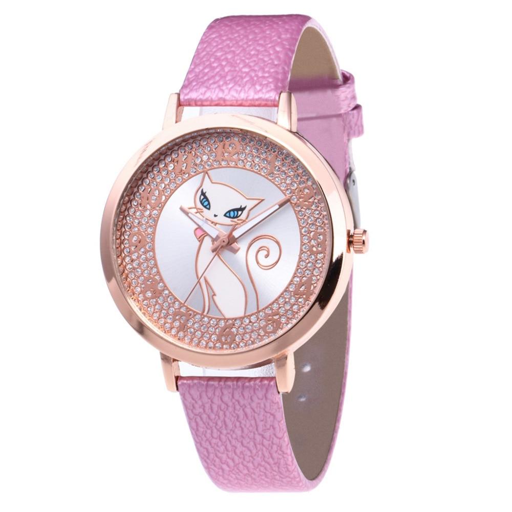 Hot Temperament Women Watch Rhinestone Charming Cat Dial Ladies Quartz WristWatch Top Brand Leather Strap Watch Clock Gift #W