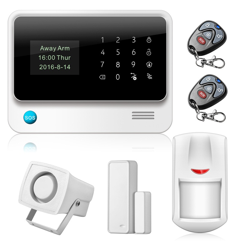 433MHz Security Alarm Touch Screen Alarm IOS Android APP Control With PIR Motion Detector Door Sensor WIFI GSM Home Alarm System yobangsecurity gsm wifi burglar alarm system security home android ios app control wired siren pir door alarm sensor