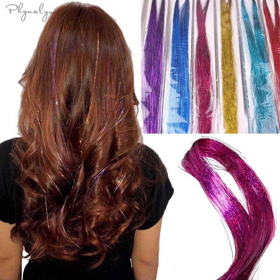 Phynalyn Hair Glitter Extensions Gold Silver Pink Hair Strand Fashion Sexy Sparkle Hair Tinsel Thread Miniature Crochet