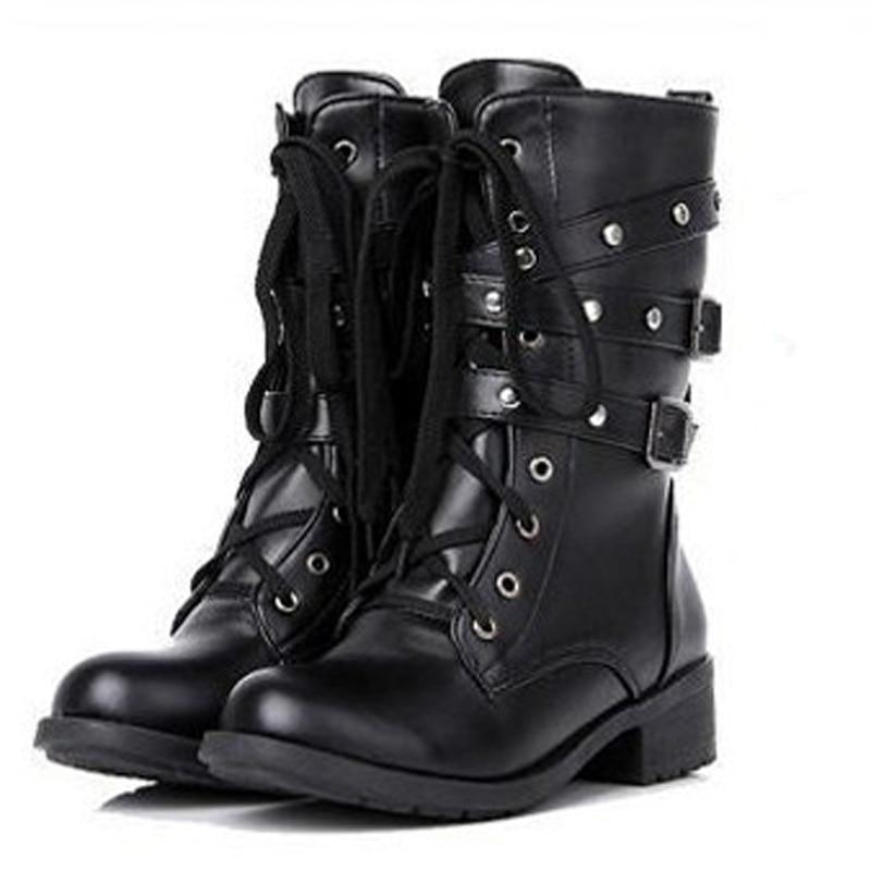 Popular VTG 9039s Grunge Black Leather Punk Rock Combat Boots Mens