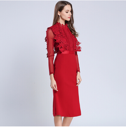 SMTHMA HIGH QUALITY Newest 2019 Designer Runway Red Dress Women's Long Sleeve Lace Patchwork Mermaid Dress 18