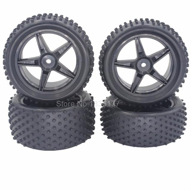 4pcs RC Tires Wheel Rims 12mm Hex Foam Insert With Nylon Lock Nut M4 For 1/10 Buggy HSP XSTR Redcat Tornado S30 Shockwave Nitro
