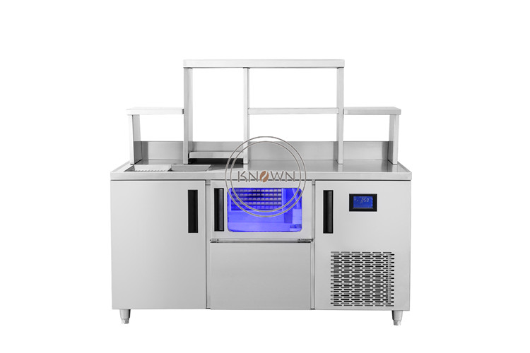 1800mm Length Kitchen Working Table/ Workbench With Two Ice Maker/ Ice  Making Machine/ice Cube Maker