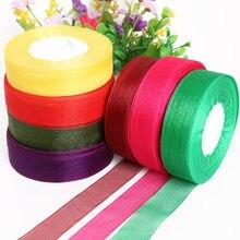 Rouleau de rubans organza de 50 Yards de largeur 1 ''(25mm), rubans décoratifs de mariage, bricolage, emballage cadeau de fête à nœud, accessoires de couture