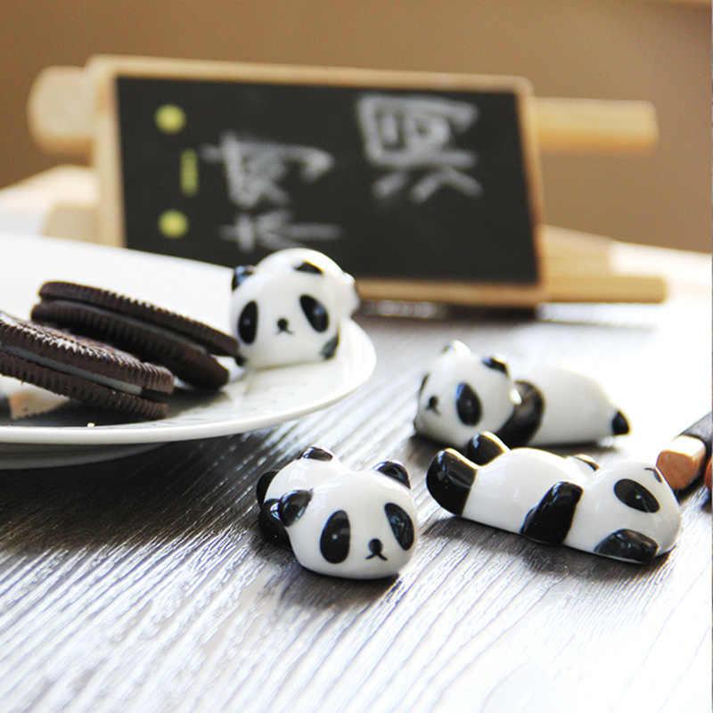 Cute Ceramics China Panda Ornament Chopsticks Knife Fork Tableware Stand Holder Penholder Home Garden Potted Plants Decoration