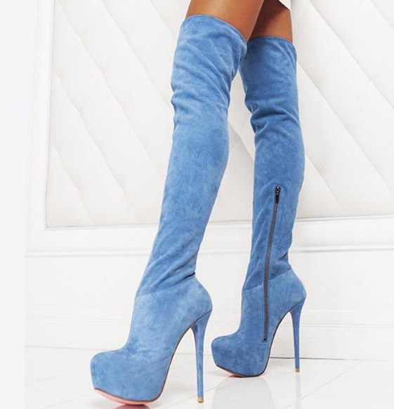 New Women Suede Blue Jeans Slim Sexy Fashion Over-the-Knee Boots Sexy Thin High Heel Boots Platform Woman Thigh High Boots ShoesNew Women Suede Blue Jeans Slim Sexy Fashion Over-the-Knee Boots Sexy Thin High Heel Boots Platform Woman Thigh High Boots Shoes