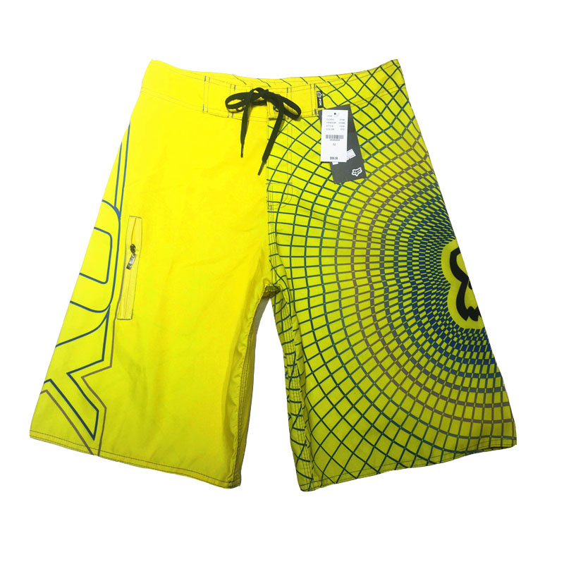 Shoreline Fox Summer Men Surf Surfing Shorts Sports Beach Pants Yellow Dark Blue Stripes Men Swimming Shorts Quick Dry Plus Size