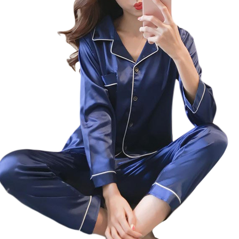 KLV Fashion Chic Womens Faux Silk   Pajamas     Set   Luxury Home Clothes Long Sleeve Sleepwear Solid Lounge 5 Colors New