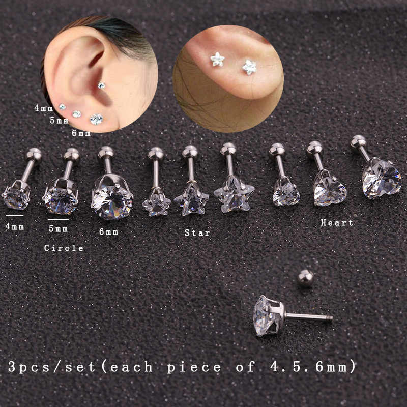 Sellsets 4/5/6mm Crystal Zircon Stud Earrings Tragus Ear Cartilage Piercing 316L Surgical Steel Body Jewelry Helix Piercing