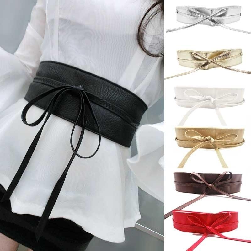 1PC Fashion Spring Autumn Women Lady Fashion Metallic Color Soft Faux Leather Wide Belt Self Tie Wrap  Waist Mujer Dress reflection
