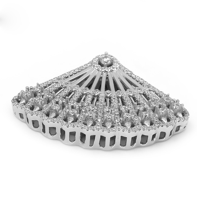 Free Shipping Fan-shaped 925 Sterling Silver Zircon Micro Pave Tassels Jewelry Connectors For Pearl Necklace Making SLJQ-CZ001