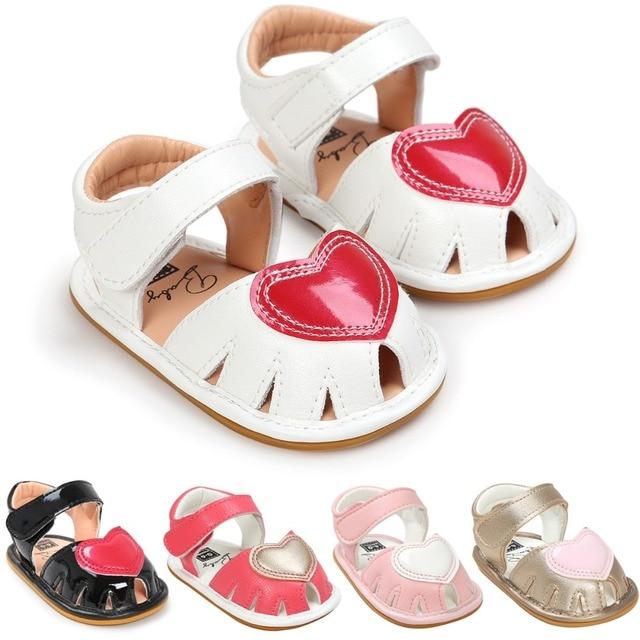 dec6c4ebeda4 Newborn Infant Girls Princess Summer Shoes Pram Bebe First Walkers Soft  Rubber Soled Outdoor Heart-Shaped Kids Shoe Footwear