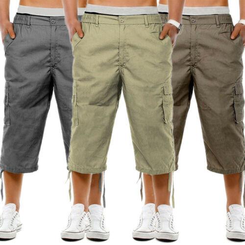 Men's Casual Combat Cargo Shorts 3/4 Sport Pants Beach Elastic Waist Safari Style Trousers US