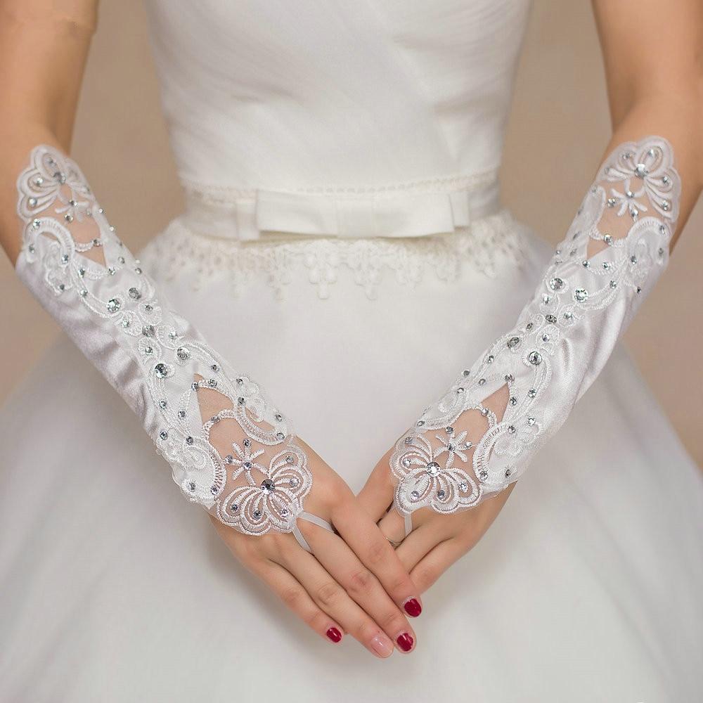 Rhinestone Fingerless Gloves Wedding Gloves