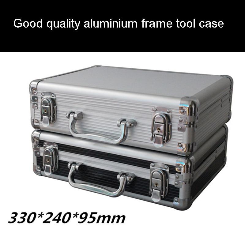 جعبه ابزار آلومینیومی جعبه ابزار 320 * 230 * 80MM نرم افزار جادوگری جعبه ابزار حمل سخت افزار جعبه ابزار حمل سخت تفنگ دستی اسلحه قفل شده با فوم پیش از برش