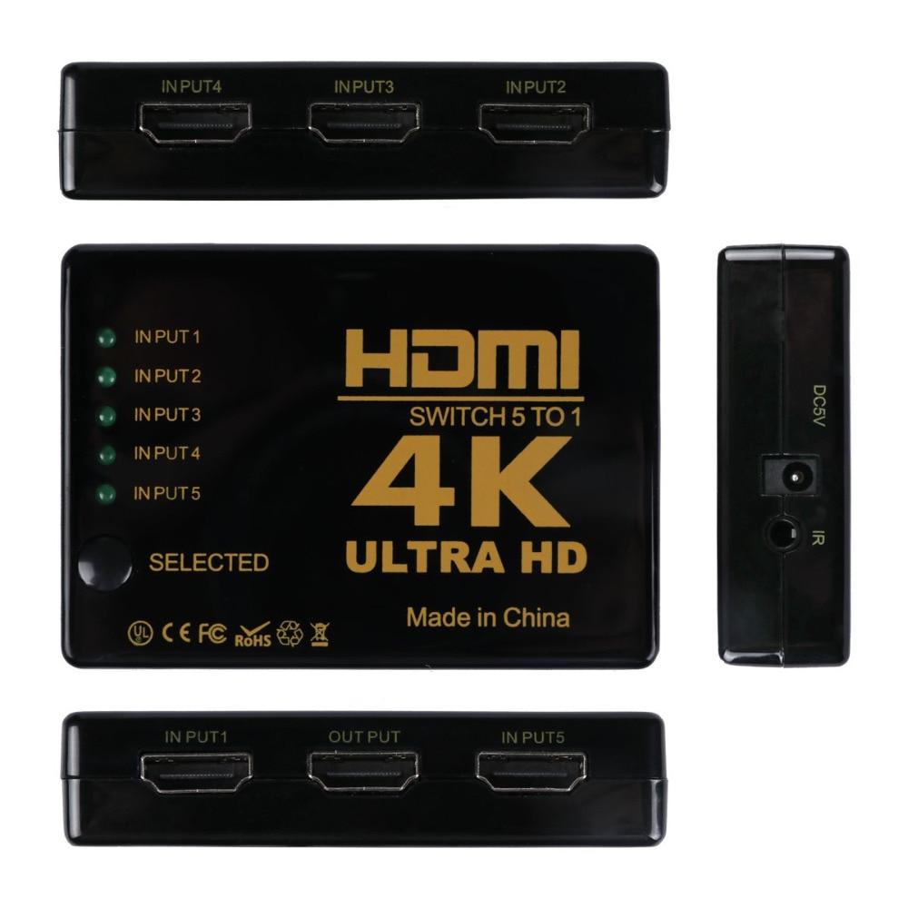 Mini 3D 1080 P 5 Puerto 4 K HDMI Switch Switcher Selector Splitter Hub + IR remoto para HDTV