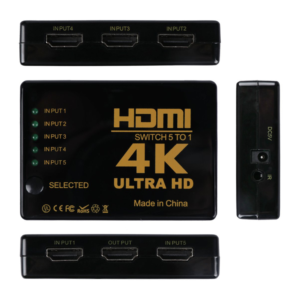 Mini 3D 1080p 5Port 4K HDMI Switch Switcher Selector Splitter Hub +IR Remote For HDTV